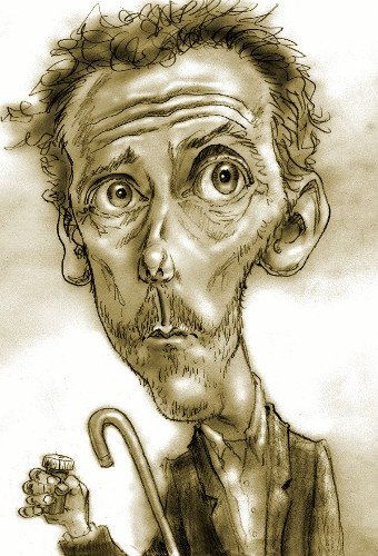 Thomas Marsh Creations artist Los Angeles art artwork color painting illustration caricature Hugh Laurie as Dr. Gregory House